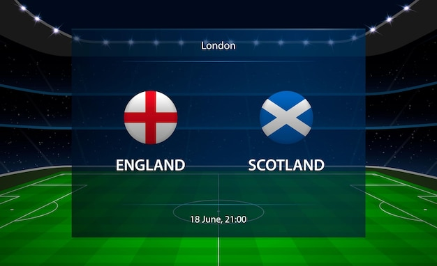 Placar de futebol inglaterra vs escócia. Vetor Premium