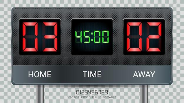 Placar de tempo digital.