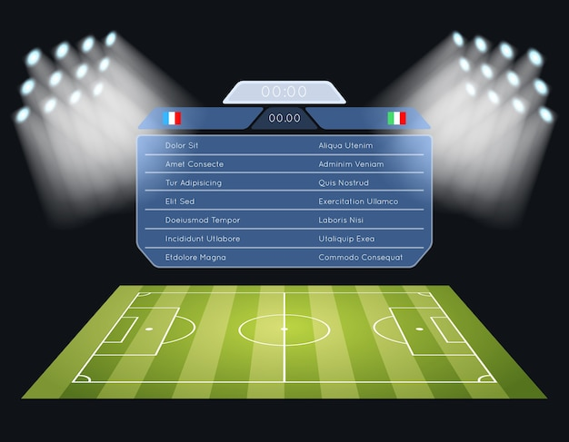Placar do campo de futebol do floodlighting. holofotes e iluminação, jogo de futebol esportivo, estádio e campeonato.