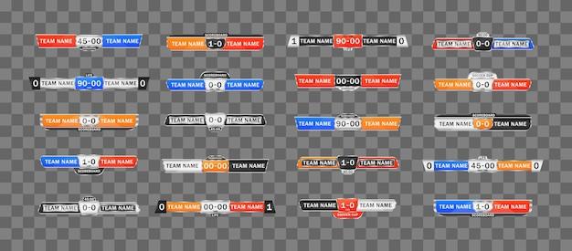 Placar do esporte com tempo e exibição do resultado. gráfico de pontuação de futebol para jogar futebol. gráficos de transmissão de placar e terceiro modelo inferior para futebol esportivo e futebol americano.