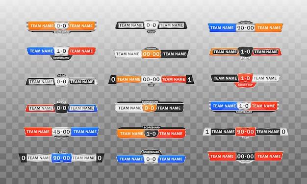 Placar do esporte com tempo e exibição do resultado. gráficos de transmissão de placar e terceiro modelo inferior para futebol esportivo e futebol americano.