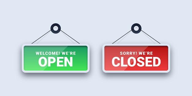 Placas abertas e fechadas