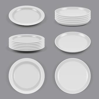 Placas cerâmicas. pratos realistas para tigelas e pratos de utensílios de cozinha de alimentos