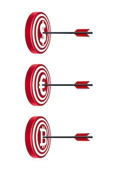 Placas de alvo com moedas e flechas