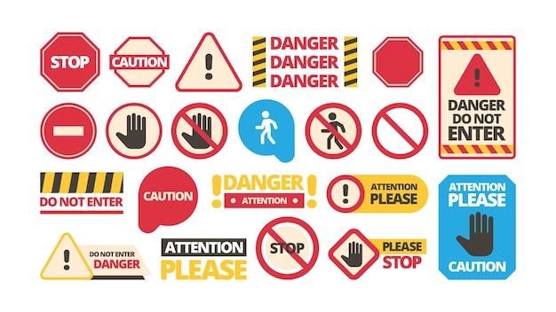 Placas de atenção. símbolos de admissão impedem a atenção com moldura vermelha de mão proibida