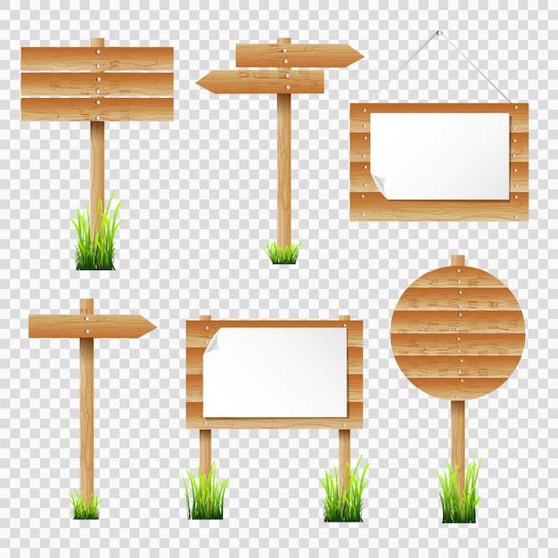 Placas de avisos de madeira e sinalização com grama