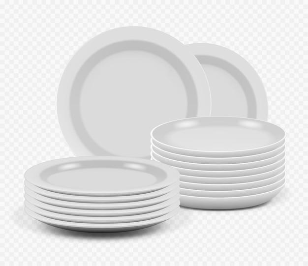Placas de empilhamento. pratos de cerâmica de cozinha para cozinhar pratos de maquete e tigelas realistas.