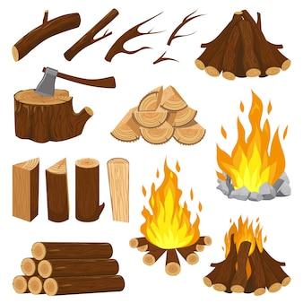 Placas de lenha. lareira, lenha, queima de pilha de madeira e fogueira ardente. ilustração dos desenhos animados de pilha de registro de fogueira