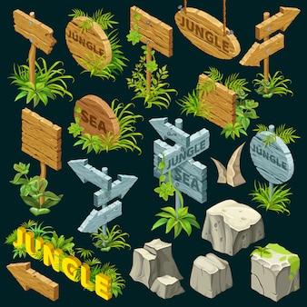 Placas de madeira isométricas.