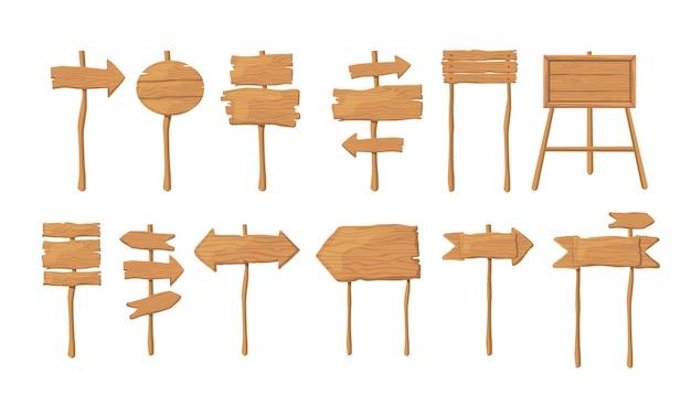 Placas de madeira na coleção de vetor plana de pau