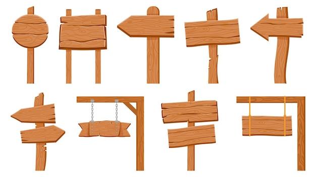 Placas de madeira. prancha de madeira vazia redonda e sinais de seta. ponteiro de direção de estrada rústica velha dos desenhos animados na vara. conjunto de vetores de orientação texturizada. ilustração de prancha de madeira vazia, faixa de tabuleta de madeira