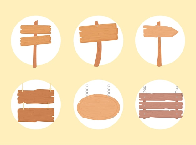 Placas de madeira vazias