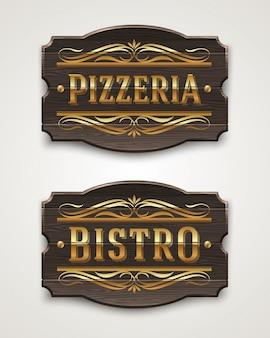 Placas de madeira vintage para pizzaria e bistrô com letras douradas e elementos decorativos - ilustração