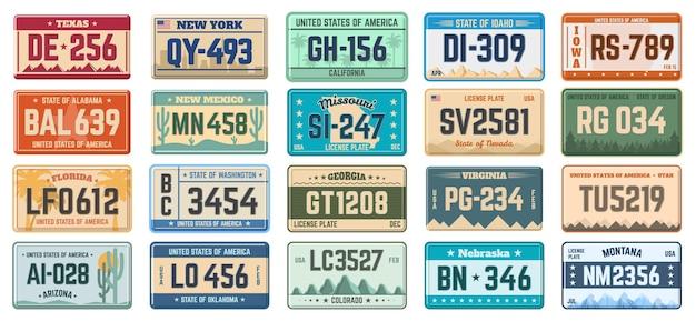 Placas de matrícula do carro. placas de matrícula dos estados de uso do veículo, placas de matrícula de automóveis definidas