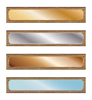 Placas de metal com molduras de madeira