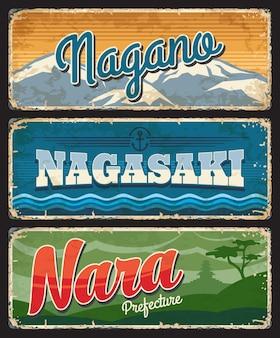 Placas de metal da região japonesa de nagano, nagasaki e nara