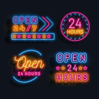 Placas de néon coloridas abertas 24 horas