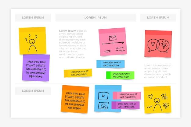Placas de notas adesivas infográficos em design plano