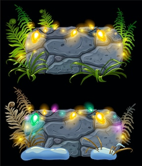 Placas de pedra e lâmpadas.