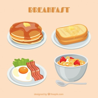 Placas de pequeno-almoço colorido