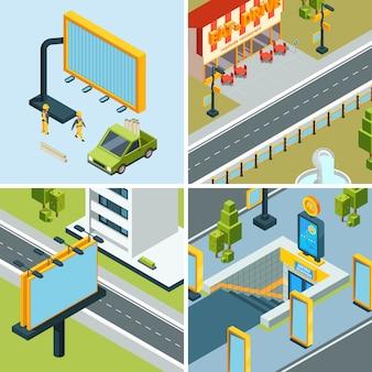 Placas de publicidade urbana. o cartaz ao ar livre conduziu painéis dos painéis em imagens isométricas das paisagens das ruas