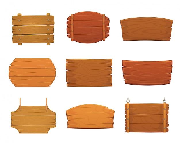 Placas de sinal de madeira de pranchas de madeira velhas