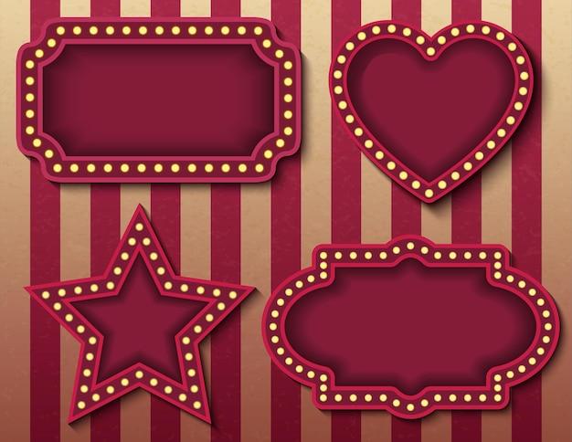 Placas de sinalização de circo. estoque de vetor brilhantemente brilhante retro cinema neon assina banners. modelos de banner de show de noite de estilo carnaval. imagens vetoriais de fundo