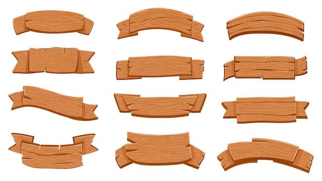 Placas de sinalização de fita de madeira. banners curvos de madeira dos desenhos animados para o jogo. pranchas rústicas texturizadas, rótulos de placa de madeira compensada, conjunto de vetores de design de sinal em branco. quadro indicador de ilustração feito de madeira