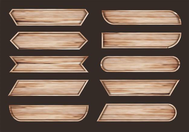Placas de sinalização de madeira de vetor com modelo de design de barra de título de título