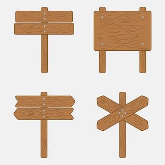 Placas de sinalização de madeira e orientação em estilo cartoon. ilustração vetorial.