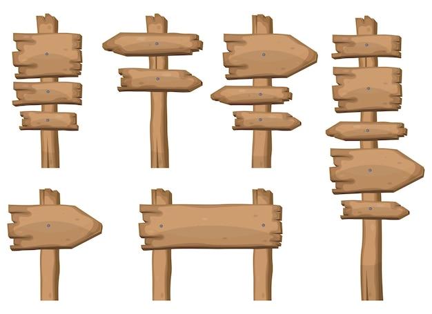 Placas de sinalização de madeira em formas diferentes ilustração vetorial