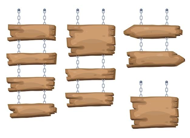 Placas de sinalização de madeira penduradas em corrente