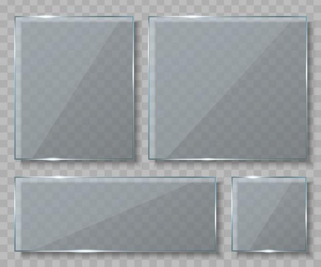 Placas de vidro, banners vazios em branco.