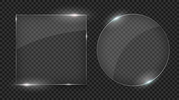 Placas de vidro, conjunto de formas diferentes, molduras de vidro isoladas em transparente
