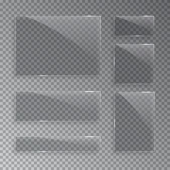 Placas de vidro isoladas em fundo transparente