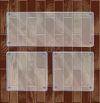 Placas de vidro transparente em madeira texturizada