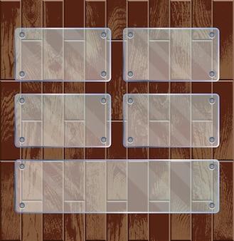 Placas de vidro transparente em madeira