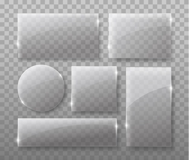 Placas de vidro transparente isoladas em fundo transparente com sombras realistas.
