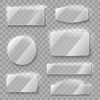 Placas de vidro transparente