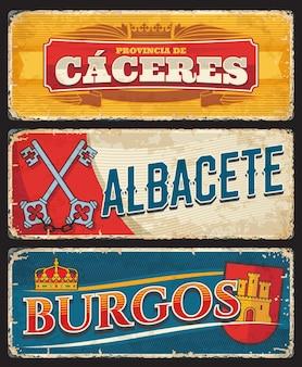 Placas e adesivos das províncias de cáceres, albacete e burgos