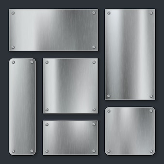 Placas metálicas. placa de aço, etiqueta cromada em painel inoxidável com parafusos. conjunto de modelo realista em branco metálico de tecnologia industrial
