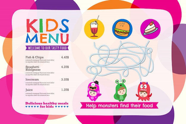 Placemat colorido bonito do menu da refeição dos miúdos com fundo do círculo