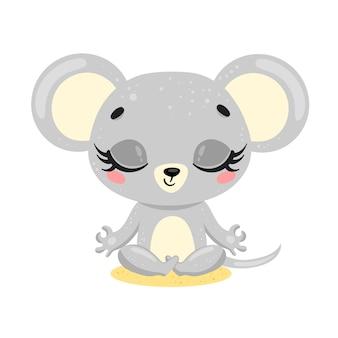 Plana fofa cartoon doodle meditação mouse. os animais meditam. animais ioga