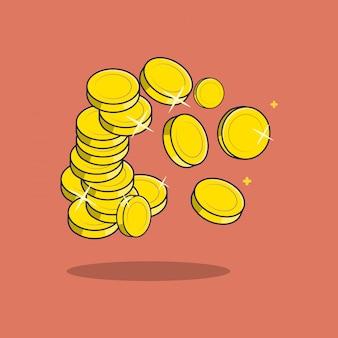 Plana muitas moedas ilustração