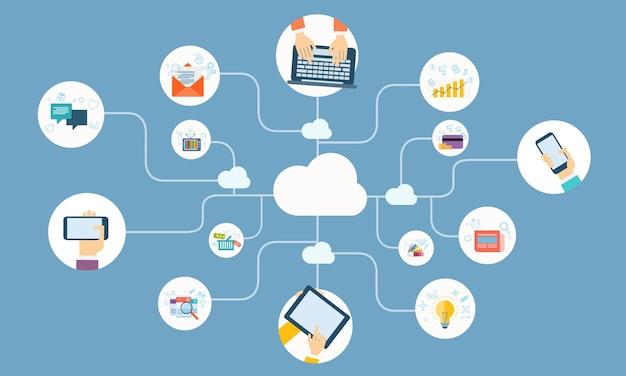 Plana vector ilustração design negócio nuvem rede conexão conceito on-line Vetor Premium