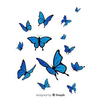 Planas borboletas voando fundo
