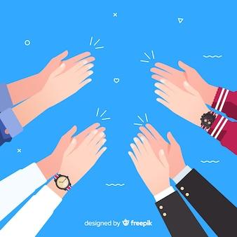 Planas mãos coloridas aplaudindo