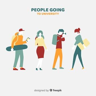 Planas, pessoas, ir, para, universidade, cobrança