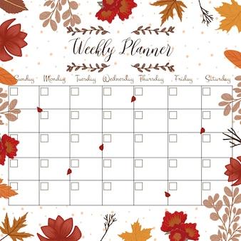 Planejador de aluno floral com flores de outono