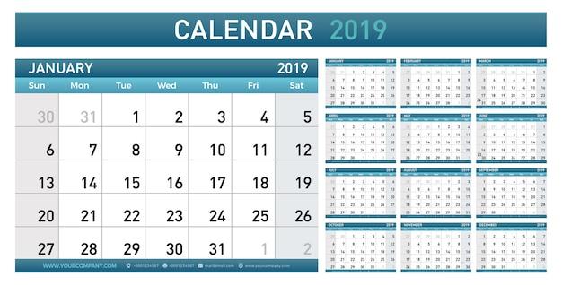 Planejador de calendário 2019 ano